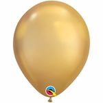 "11"" Round Chrome Gold Latex Balloons"