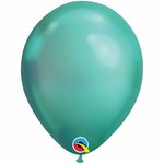 "11"" Round Chrome Green Latex Balloons"