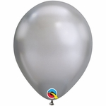 "11"" Round Chrome Silver Latex Balloons"