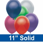 "11"" Solid Latex Balloons"