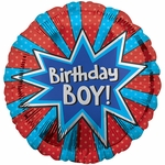 "17"" Birthday Boy Burst Helium Saver Balloon"