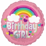 "17"" Birthday Girl Rainbow Fun Helium Saver Balloon"