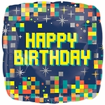 "17"" Birthday Pixels Helium Saver Balloon"