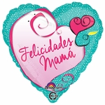 "17"" Felicidades Mama Heart Helium Savers Balloon"