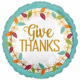 "17"" Give Thanks Helium Saver Balloon"