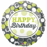 "17"" Happy Birthday Green & Silver Circles Helium Saver Balloon"