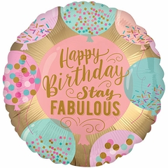 "17"" Happy Birthday Stay Fabulous Helium Saver Balloon"