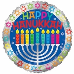 "17"" Happy Hanukkah K Light Balloon"