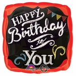 "17"" Chalkboard Happy Birthday Helium Savers Balloon"