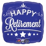 "17"" Happy Retirement Blue Square Helium Savers Balloon"