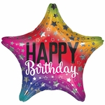 "17"" Rainbow Star Birthday Helium Saver Balloon"