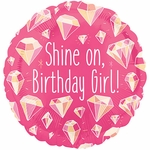 "17"" Shine On Birthday Girl Helium Saver Balloon"