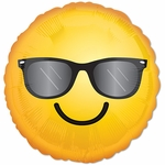 "17"" Standard Smiling Sunglass Emoticon Helium Saver Balloon"