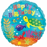 "17"" Under the Sea Happy Birthday Helium Saver Balloon"