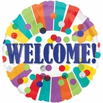 """17"""" Welcome Dots & Stripes Balloon"""