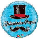 "18"" Felicidades Papa Top Hat Balloon"