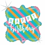 "18"" Birthday Banner & Stripes Holographic Balloon"