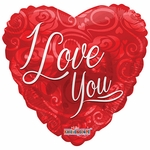 "18"" BV I Love You Roses Pattern Balloon"