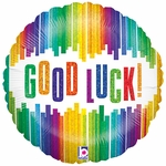 "18"" Good Luck Vertical Stripes Holographic Balloon"
