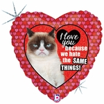 "18"" Grumpy Cat Love Holographic Balloon"