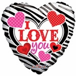 "18"" I Love You Zebra Pattern Balloon"