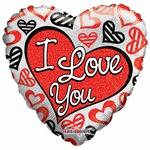 "18"" ILY Red & Black Hearts Holographic Balloon"