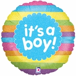 "18"" It's a Boy Rainbow Stripes Holographic Balloon"
