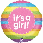 "18"" It's a Girl Rainbow Stripes Holographic Balloon"