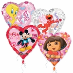 "18"" Licensed Valentine Balloon Assortment with Ribbon"