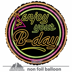 "18"" Enjoy Your B-day Neon Gellibean Balloon"