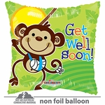 "18"" Get Well Monkey Gellibean Balloon"
