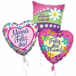 "Assorted Spanish Mother's Day 18"" Balloons with Ribbons"