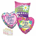 "Assorted Spanish Mother's Day 18"" Balloons with Ribbon Weights"