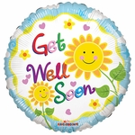 "18"" SV Sunflower Smiles Get Well Soon Balloon"