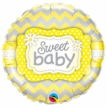 "18"" Sweet Baby Yellow Print Balloon"