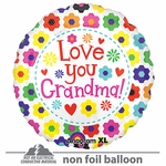 "21"" Love You Grandma Flowers ColorBlast Balloon"