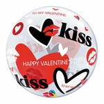 "22"" Valentine Kisses & Hearts Bubble Balloon"