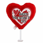 "6"" Happy Valentine's Day Red Heart w/Arrow Plush Pick"