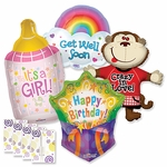 Assorted Everyday Shape Balloons with Ribbon Weights