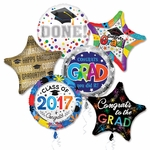 "Assorted Grad 18"" Balloons with Ribbons"