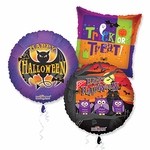 "Assorted Halloween 18"" Balloons with Ribbons"