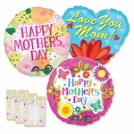 Assorted Mother's Day Jumbo Balloons with Ribbon Weights