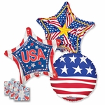 Assorted Patriotic 18'' Balloons with Ribbon Weights