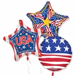 "Assorted Patriotic 18"" Balloons with Ribbons"
