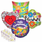 Assorted Spanish 18'' Balloons with Ribbon Weights