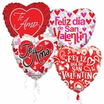 "Assorted Spanish Love 18"" Balloons with Ribbons"