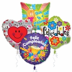 "Assorted Spanish 18"" Balloons with Ribbons"