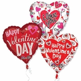 Assorted Valentine Jumbo Balloons with Ribbons