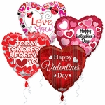 "Assorted Valentine 18"" Balloons with Ribbons"