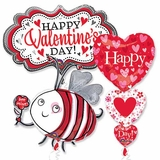 Assorted Valentine Shape Balloons with Ribbons